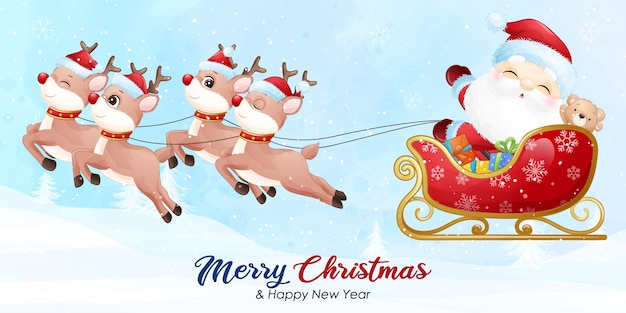 Cute  santa claus for christmas with watercolor banner Premium Vector