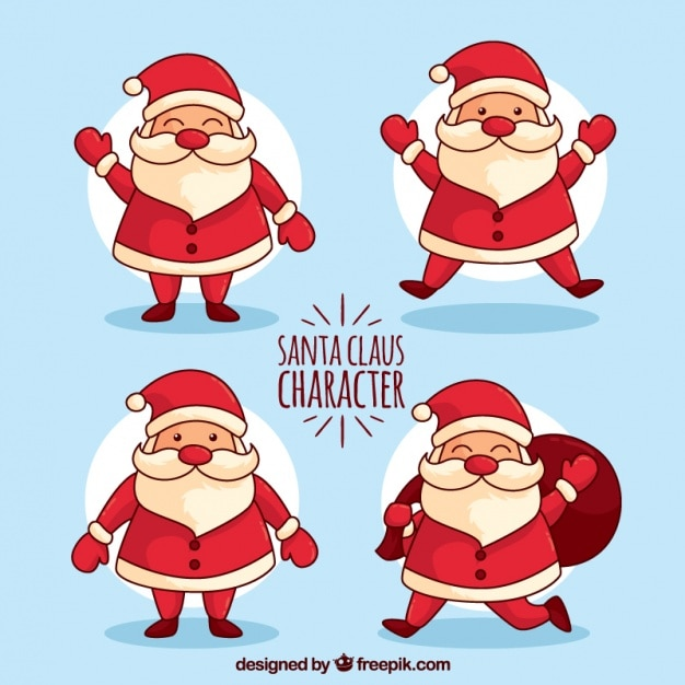 cute santa claus collection free vector - Free Santa Claus Pictures
