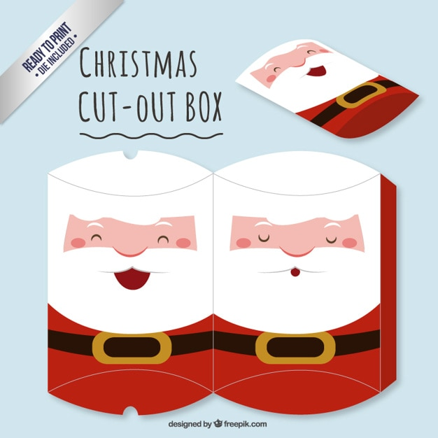 Cute santa claus cut out box Free Vector