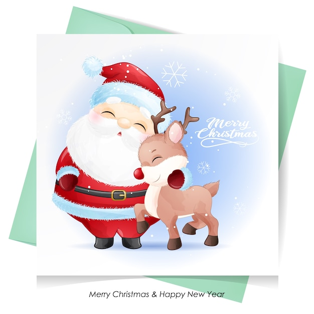 Cute  santa claus and deer for christmas with watercolor card Premium Vector