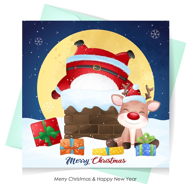 Cute  santa claus and deer for christmas with watercolor illustration Premium Vector