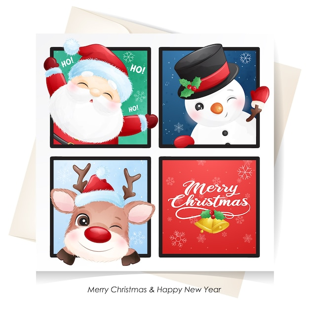 Cute  santa claus, deer and snowman for christmas with watercolor card Premium Vector