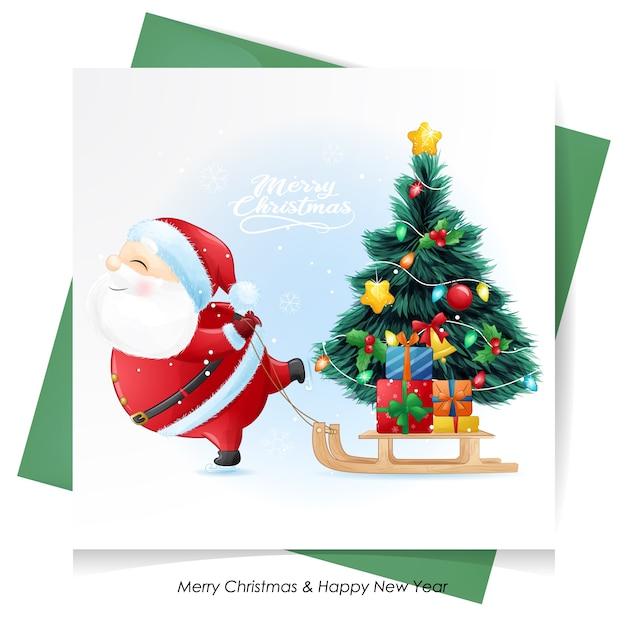 水彩カードでクリスマスのかわいいサンタクロース Premiumベクター