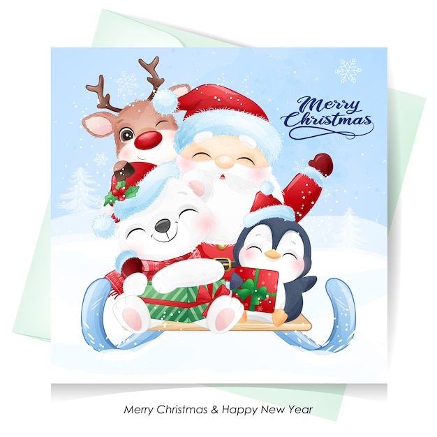 Cute  santa claus and friends for christmas day with watercolor card Premium Vector