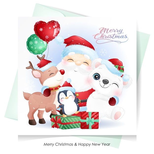 Cute  santa claus and friends for christmas with watercolor card Premium Vector