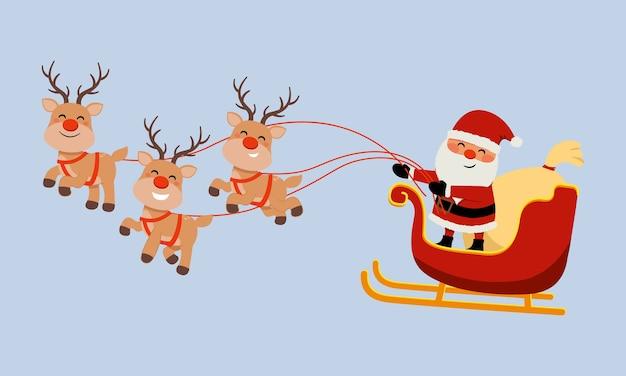 Cute santa claus image riding reindeer sleigh. merry christmas clip art. flat vector isolated. Premium Vector
