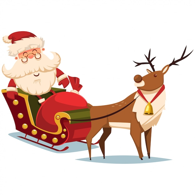 トナカイとギフト袋とそりでかわいいサンタクロース ベクトルクリスマスイラスト プレミアムベクター