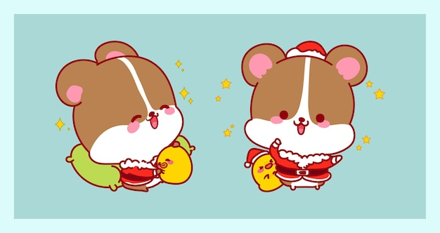 Cute santa claus in rat costume isolated on merry christmas background with characters design. Premium Vector