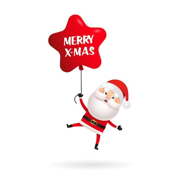 Cute santa claus wishing merry christmas Free Vector