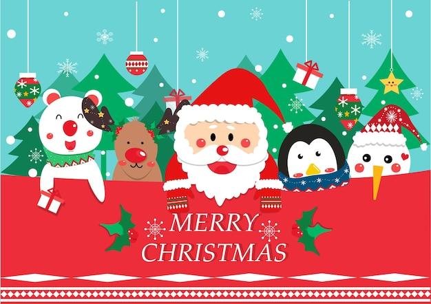 Cute santa clause and friend cartoon vector Premium Vector