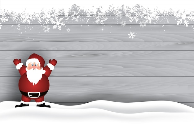 Cute Santa in the snow on a wooden texture background Free Vector