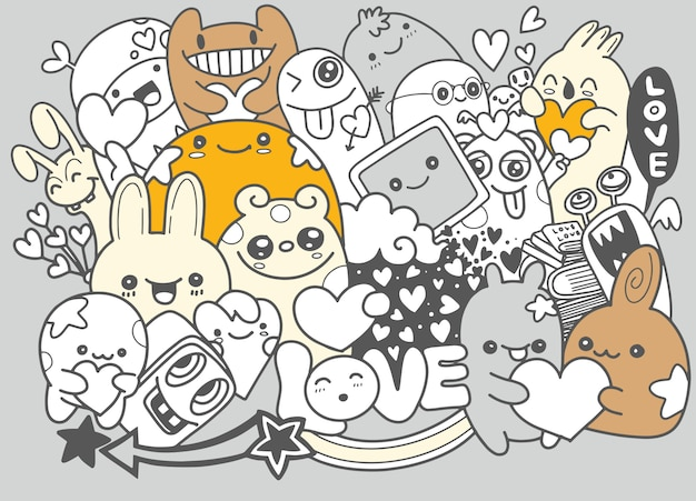 Cute scary halloween monsters and candy Premium Vector