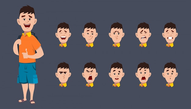 Cute school boy character expression sheet for animation and motion Premium Vector