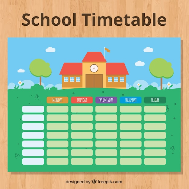 Cute school building and timetable