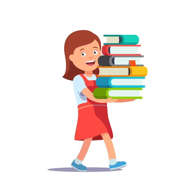 Cute school girl carrying big pile of books Free Vector