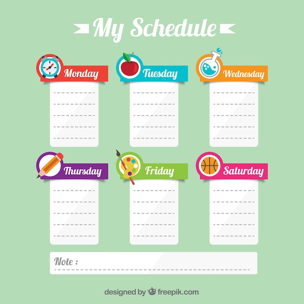Cute school schedule with notes Vector | Free Download