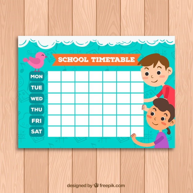 Cute school timetable template with kids and bird