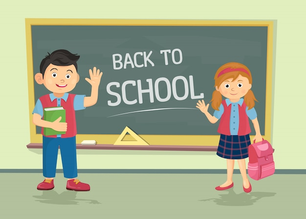 Cute schoolgirl and schoolboy wearing uniform with backpacks standing near blackboard Premium Vector