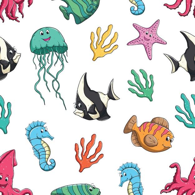 Cute sea animal in seamless pattern Premium Vector