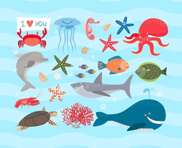 Симпатичные морские животные иллюстрации набор Бесплатные векторы