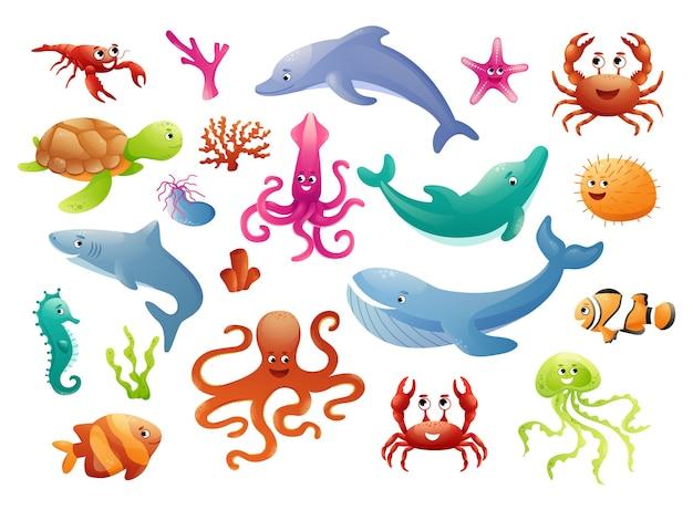 Симпатичные морские животные в цветных кругах для наклеек Premium векторы
