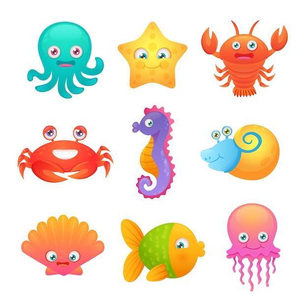 Cute sea animals Free Vector