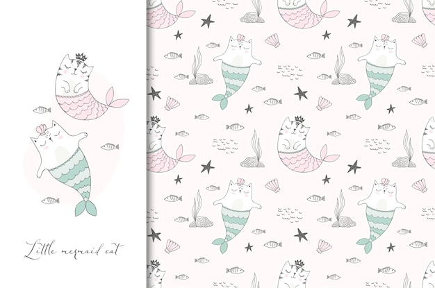 Cute sea cats illustration card and seamless pattern. Premium Vector