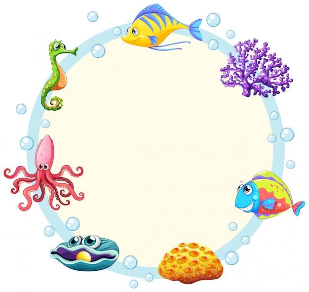 Cute sea creature border Free Vector