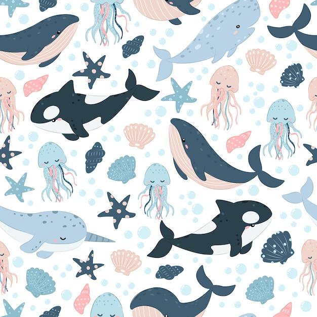 Симпатичные морские существа бесшовные модели Premium векторы