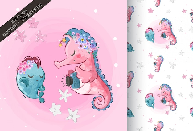 Cute sea horse  with seamless pattern Premium Vector