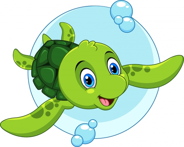 Cute Sea Turtle Cartoon Premium Vector