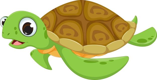 Cute sea turtle cartoon Premium Vector