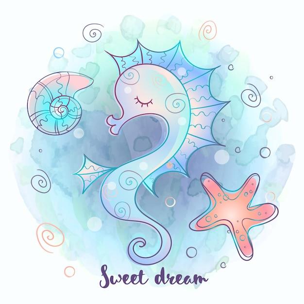 Cute seahorse sleeping sweetly Premium Vector