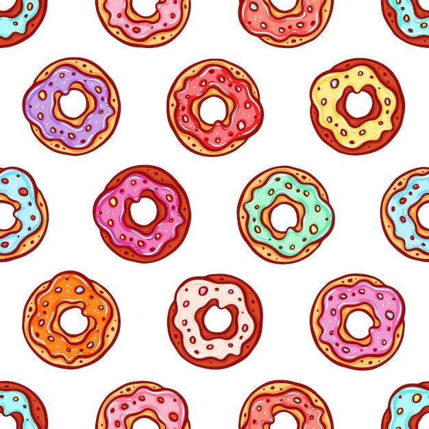 Симпатичный бесшовный фон из пончиков с красочной глазурью Premium векторы