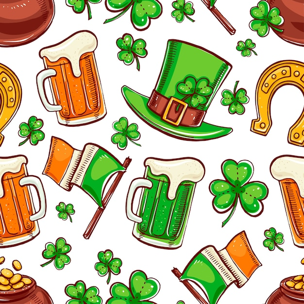 Cute seamless background for st. patrick`s day. hand-drawn illustration. Premium Vector