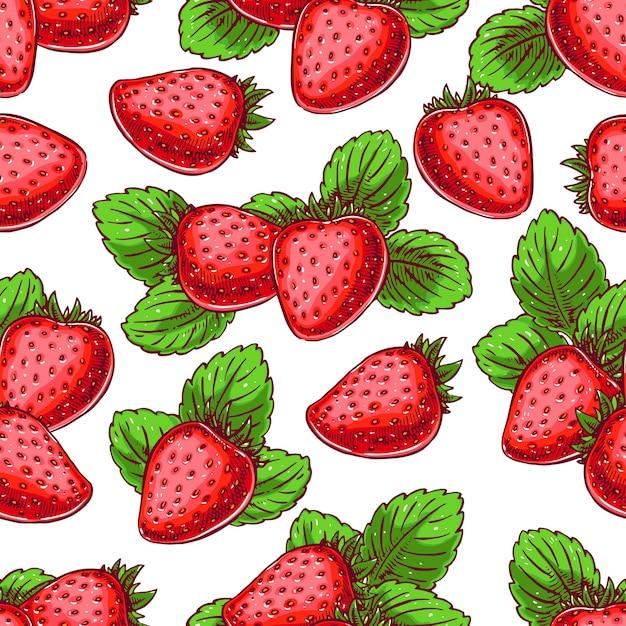 おいしい熟したイチゴとかわいいシームレスな背景。手描きイラスト Premiumベクター