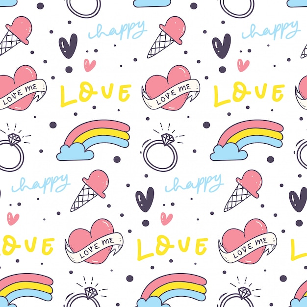 Cute seamless background with heart and rainbow Premium Vector