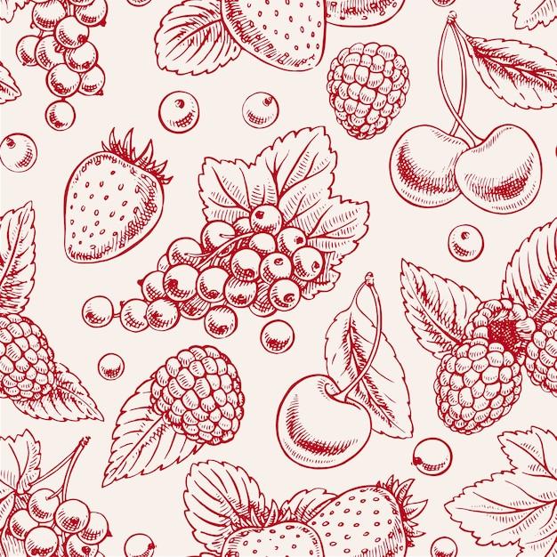 ピンクの熟したベリーと葉とかわいいシームレスな背景。手描きイラスト Premiumベクター