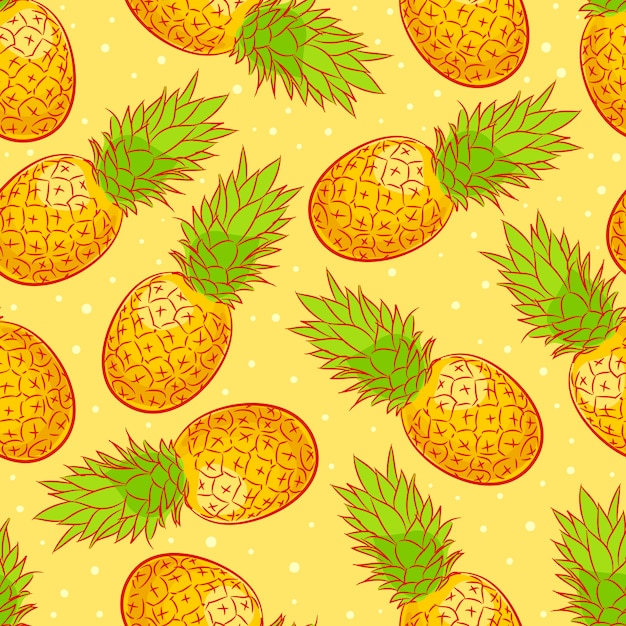 Cute seamless background with ripe appetizing pineapple Premium Vector