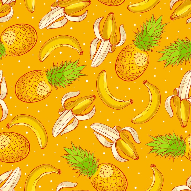 Cute seamless background with ripe appetizing pineapples and bananas Premium Vector