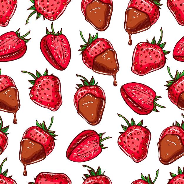イチゴとチョコレートのかわいいシームレスな背景 Premiumベクター