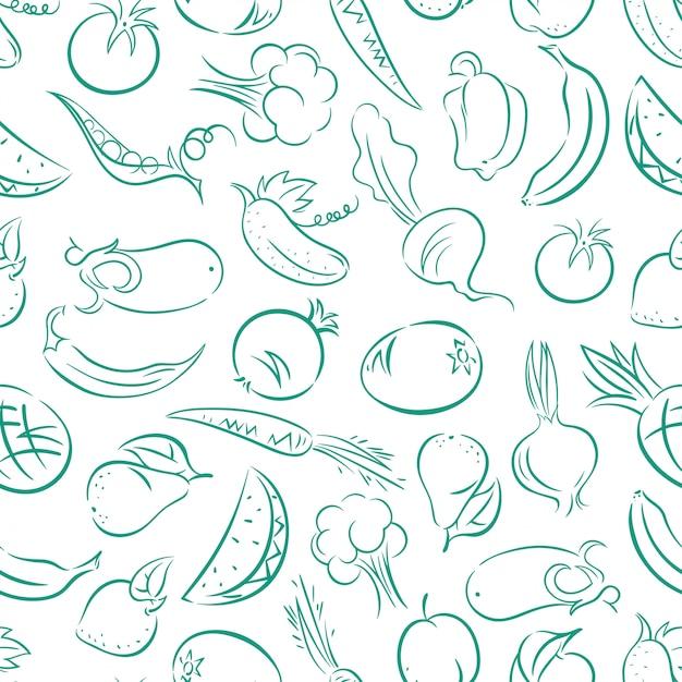 Симпатичные бесшовные сине-белый фон со стилизованными фруктами и овощами Premium векторы