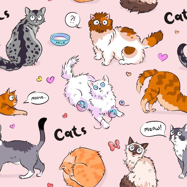 かわいいシームレスな猫のパターンデザイン Premiumベクター