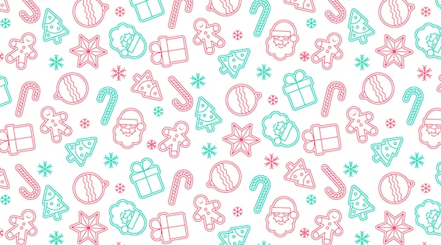 Cute seamless christmas pattern Free Vector