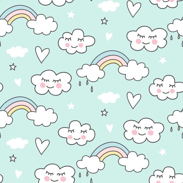 Cute seamless cloud pattern Premium Vector