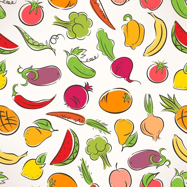 Симпатичные бесшовные цветной фон со стилизованными фруктами и овощами Premium векторы