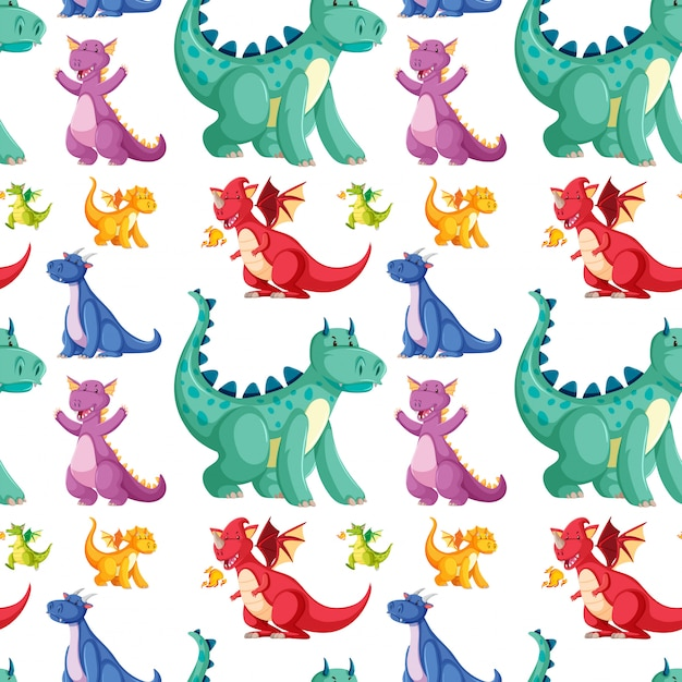 Cute seamless dinosaur pattern Free Vector