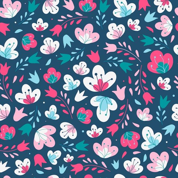 Cute seamless floral pattern on a dark background Premium Vector
