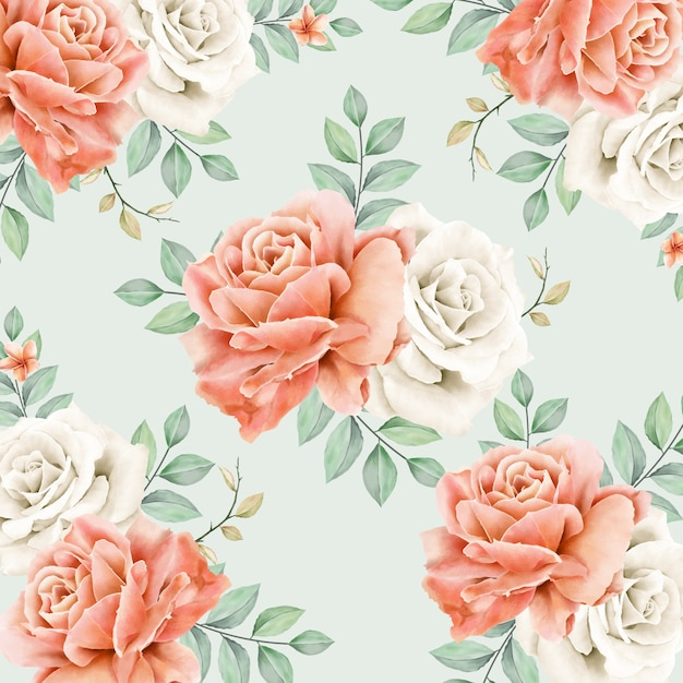 Cute seamless pattern of aquarel peonies flowers Premium Vector