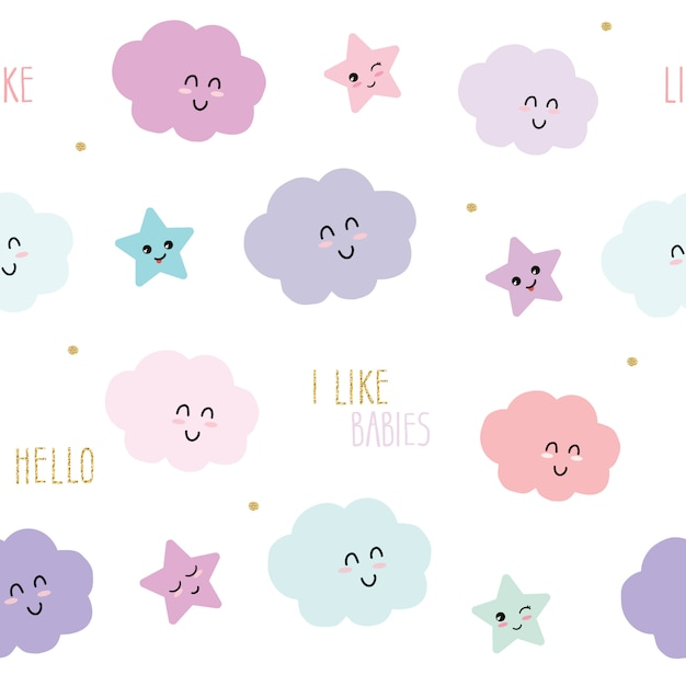 Cute seamless pattern background with cartoon kawaii stars and clouds. Premium Vector